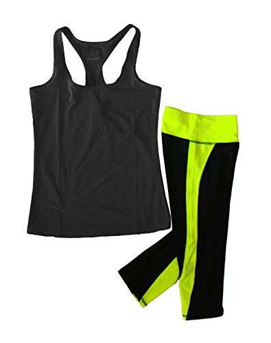 Women's Moisture Wick Athletic Yoga Tank Top & Racer Stripe Capri Leggings, Black and Neon Yellow, Medium ()