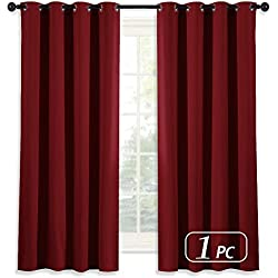 NICETOWN Room Darkening Blackout Red Curtain - (Burgundy Red) Home Decor Energy Smart Thermal Insulated Window Treatment Drape/Drapery for Kitchen, 52x63 Inch,1 Piece