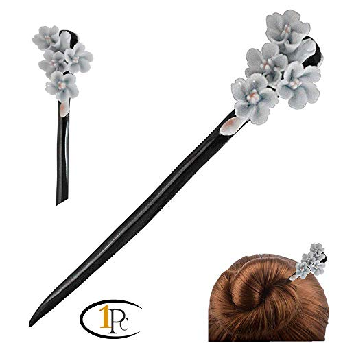 FINGER LOVE Chinese Traditional Style Handmade Ceramic Flowers Hair Pins Stick Women's Hair Accessory Gift Box Set (B)