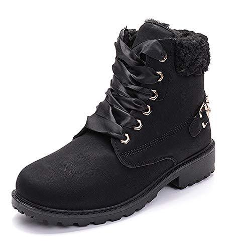 Women's Suede Waterproof Work Boots Winter High Top Low Heel Snow Boots Combat Slip on Fur Booties Black 8