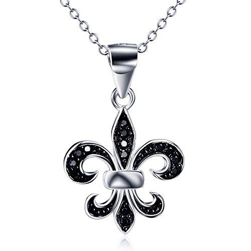 Fleur De Lis Address Labels (Ddang - 925 Sterling Silver Fleur De Lis Pendant necklace With Black Cubic CZ CHARM JEW 0281)
