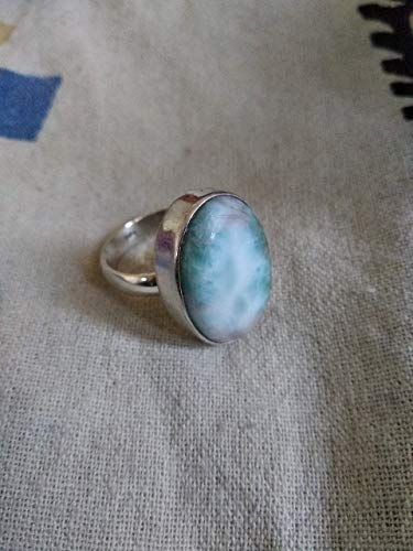 Larimar Ring, 925 Silver, Christmas Day Jewelry, Dominican Republic Larimar, Gypsy Boho Look, Statement Ring, Natural larimar Jewelry, Artisan Designer Jewelry, Amazing Ring, Gift For All, Pear Shape