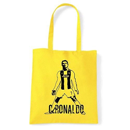 Algodón Bolso Art mujer cronaldo para juve Amarillo bag hombro al shirt de T wqXCrqz