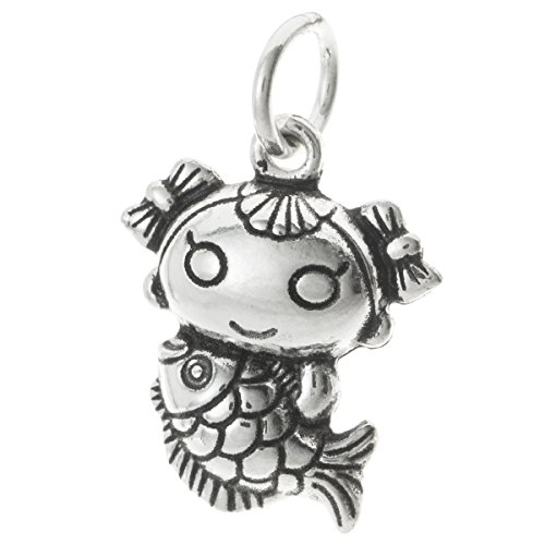 Dreambell Antique Vintage .925 Sterling Silver Chinese Little Kid Girl Sister Fish Fairy Tale Mermaid Dangle Charm Pendant