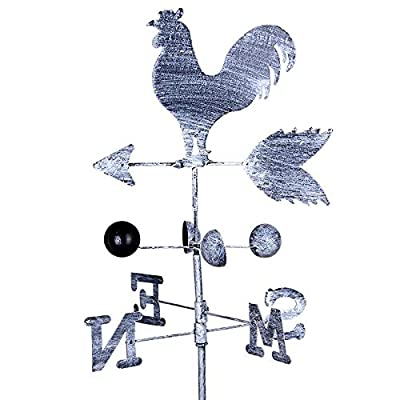 Sumerlly Traditional Rooster Weathervanes Iron Cock Wind Vane Wind Speed Direction Indicator Garden Yard : Garden & Outdoor