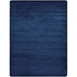"Euro Collection Solid Color Area Rug Rugs Slip Skid Resistant Rubber Backing Machine Washable More Color Options (Navy Blue, 5 x 7 (4'11' x 6'6""))"
