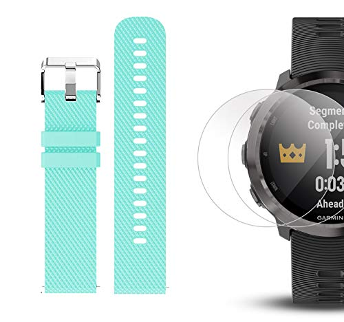 Garmin Forerunner 645 Music Bundle with Extra Band & HD Screen Protector Film (x4) | Running GPS Watch, Wrist HR, Music & Spotify, Garmin Pay (Slate + Music, Teal) by PlayBetter (Image #6)
