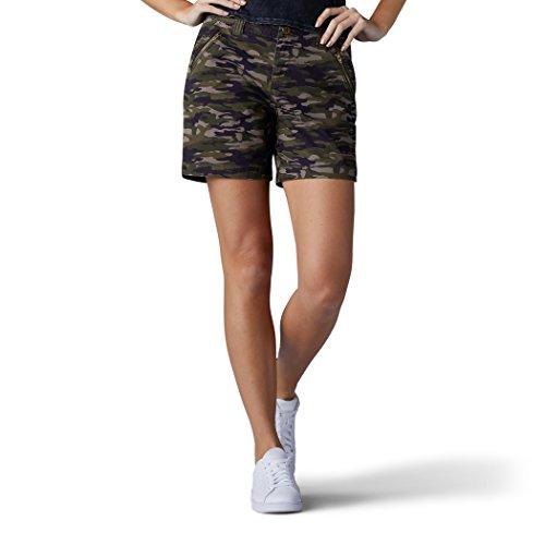 LEE Women's Straight Fit Tailored Zipper Short, Moss Spring camo, 10