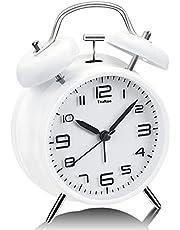 TeaRoo Dubbel klockväckarklocka med nattlampa, retro barnväckarklocka analog med stor urtavla på 10 cm inget tickande ljudlös (vit)