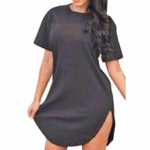 Sexy Women Solid Color Short Sleeve unregelmaessiger Rand der duennen duennen Partei Kurzschluss Kleid Schwarz lNijY
