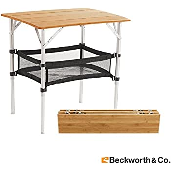 Bon SmartFlip Deluxe Bamboo Portable Outdoor Picnic Folding Table With  Adjustable Height,