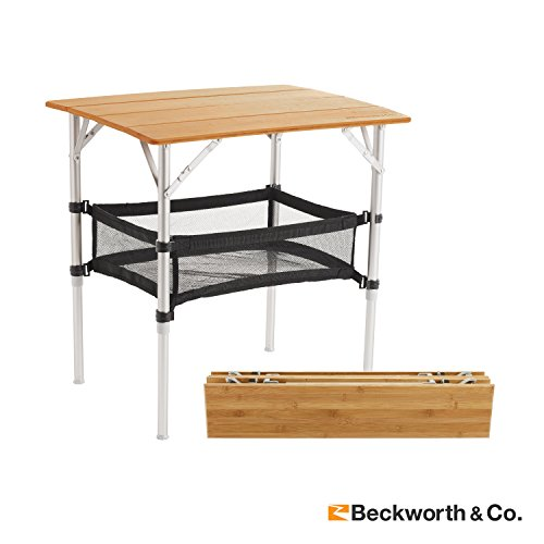 Beckworth & Co. SmartFlip Deluxe Bamboo Portable Outdoor Picnic Folding Table with Adjustable Height, Carrying Case & Storage Net - Regular