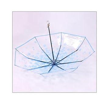 Moon boat - Paraguas Plegable con Mango de acrílico para Mujer, Transparente, Transparente,