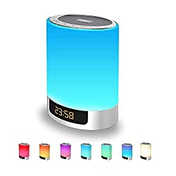 Night Lights Bluetooth Speaker, Alarm Clock with Touch Control LED Lamp Bedside Lamp Color Changing Wireless Speaker USB AUX MP3 Music Player Best Gift for Kids,Party,Outdoor, Bedroom