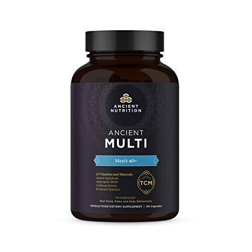 - Ancient Nutrition, Ancient Multi Men's 40+ - 21 Vitamins & Minerals, Adaptogenic Herbs, Fermented Selenium, Paleo & Keto Friendly, 90 Capsules