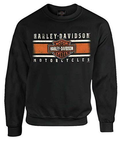 - Harley-Davidson Men's Custom Iconic B&S Fleece Pullover Sweatshirt - Black (L)
