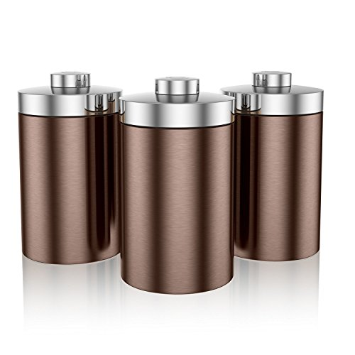 Swan SWKA1021COPN Townhouse Storage Canisters, 1.6 Litre, Set of 3, Copper