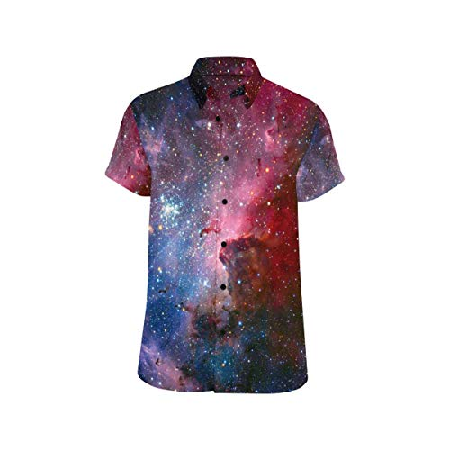 InterestPrint Mens Shirt Carina Nebula in Infrared Light Stand Collar Short Sleeve Shirt XL