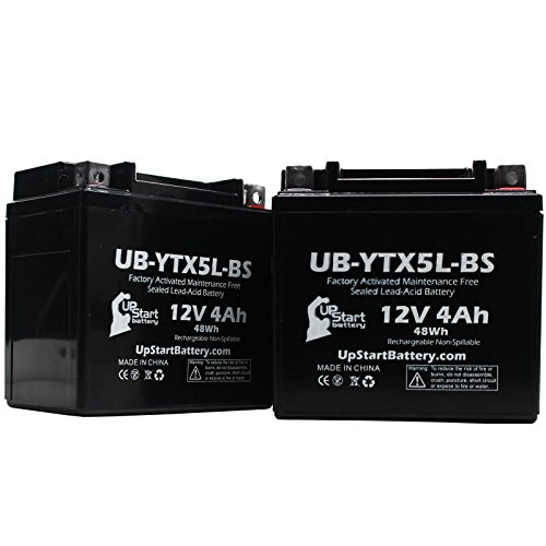 2 Pack - YTX5L-BS Battery Replacement (4Ah, 12v, Sealed) Factory Activated, Maintenance Free Battery Compatible with - 2006 Honda CRF150F, 2006 Honda CRF250X, 2005 Honda CRF250X, 2004 Honda CRF250X (Atv 4 Wheelers For Sale By Owner)