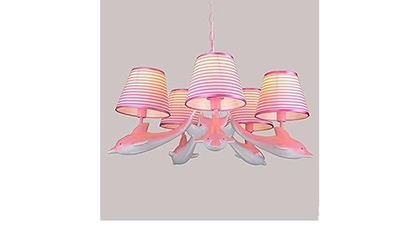 LRZZ Araña doméstica, lámpara de Techo de Palacio de Cristal, lámpara de Pared de Hierro Forjado Lámparas para habitación de los niños, Delfines Creativa, ...