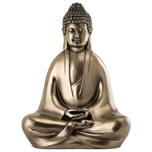 Top Collection Modern Shakyamuni Buddha Statue Meditating - Hand Painted Enlightened Supreme Buddha Sculpture in Premium Cold Cast Bronze - 12.5-Inch Collectible East Asian New Age Figurine ()
