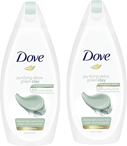 Dove Purifying Detox Green Clay Body Wash, Anti-Pollution 450ml (Pack of 2)