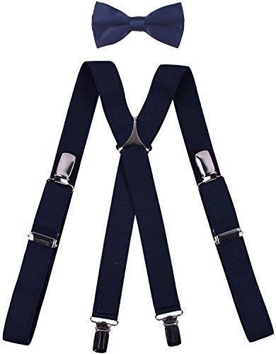 Cute Bow Ties Navy Blue Boys Suspenders X-Back Clip Adjustable Elastic Braces