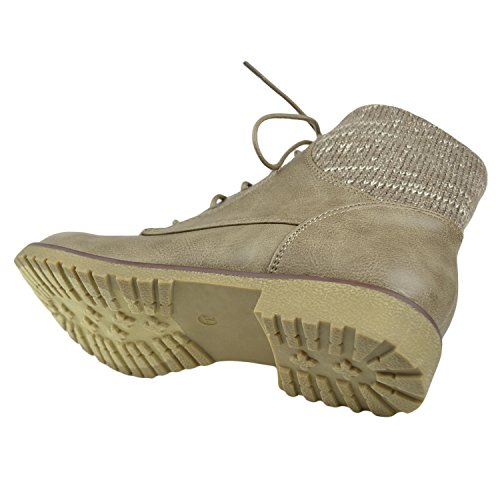 Womens Lace Up Knitted Combat Ankle Booties Taupe 6Zd25