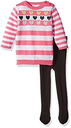 Petit Lem Baby Girls' Pink Stripe Lurex Sweater Dress with Tights, Rock Star, 3 Months