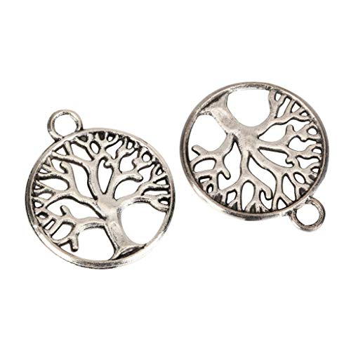 10 x Family Tree Charms 19x19mm Antique Silver Tone for Bracelets Necklace Earrings #MCZ142