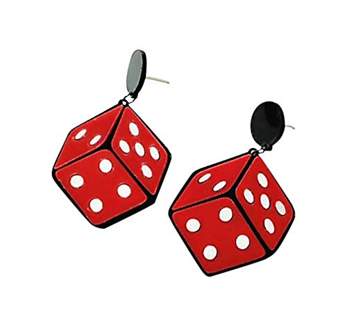 CutieJewelry Dangle Poker Party Unique Players Big Card Earrings (Dice)