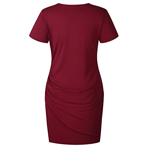 Sleeve Work Casual Dress T Red Mini Assivia Bodycon Wine Women's Short Pencil Shirt Dresses EUqFpYx5w