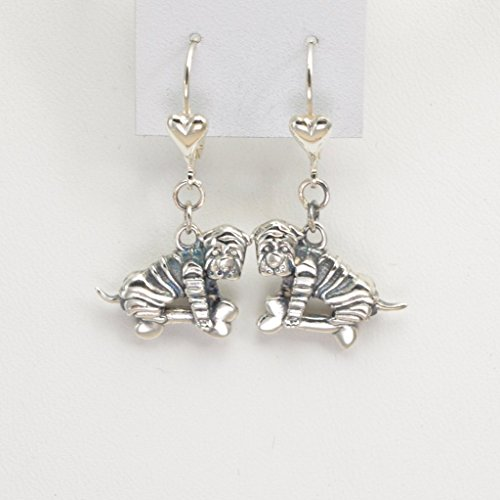 Sterling Silver Chinese Shar Pei Earrings by Donna Pizarro