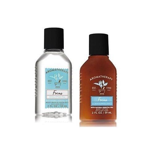 2 Ounce Bath - Bath and Body Works Aromatherapy Focus Eucalyptus & Tea Travel Size Set. Body Lotion & Shower Gel. 2 Oz
