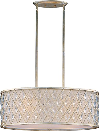 Maxim 21456OFGS Diamond 4-Light Pendant, Golden Silver Finish, Glass, MB Incandescent Incandescent Bulb , 100W Max., Damp Safety Rating, Standard Dimmable, Glass Shade Material, 3450 Rated Lumens Maxim Lighting Silver Chandelier