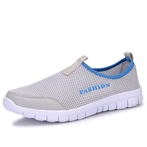 Kebinai Summer New Men's and Women's net Shoes mesh Breathable Casual Two Foot Big mesh Shoes,Light Grey,48