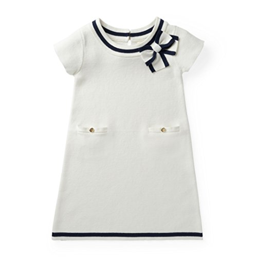 Hope & Henry Girls' White Milano Stitch Sweater Dress Made with Organic Cotton by Hope & Henry