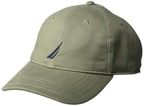 Baseball Logo Adjustable Hat (Nautica Men's Classic Logo Adjustable Baseball Cap Hat, Hillside Olive, One Size)