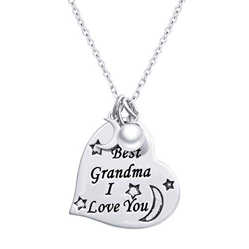 - S925 Sterling Silver Grandmother Jewelry I Love You Grandma Necklace Heart Pendant with Chain 18