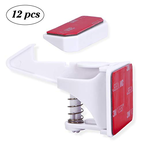 Cabinet Locks Child Safety - Baby Proof Cabinet Drawers Locks Latches with Adhesive - Easy Installation No Drilling (12 Packs)