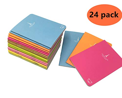"Pocket Notebook Set Pack of 24 (3.5""x5"") Candy Colors Portable Pocket Pal Super Mini Journals Portable Steno Note Books Mini Notepads(24pcs)"