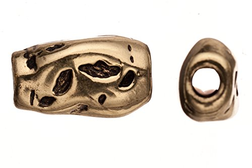 Braided leather positioning silver findings, antique copper-plated, freckle indents patterned irregular mold slider beads ()