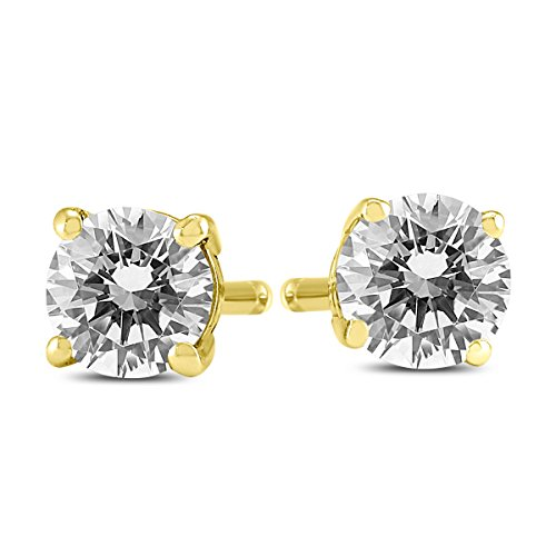 AGS Certified 14K Yellow Gold 3 4 Carat TW Round Diamond Solitaire Stud Earrings