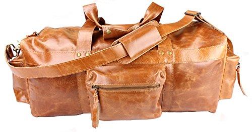 Viosi 24'' Leather Duffel Travel Gym Sports Overnight Weekend Bag (Tan) by Viosi