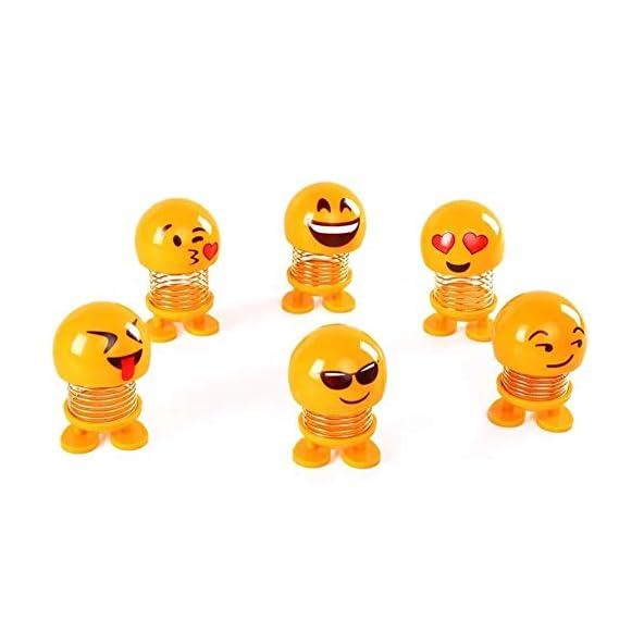 Artique Premium Emoji Shaker, Spring Bouncing Doll Car, Smiley Doll Cute Emoji, Bobble Head Dolls, Funny Smily Face Spring Dancing Toys (Random Design)- Pack of 6