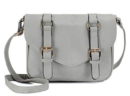 - Scarleton Decorative Front Belt Crossbody Bag H172503 - Grey