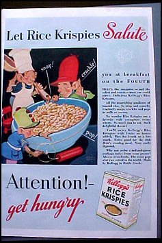 Crispies snap! crackle! pop! Color AD Fourth of July (Kelloggs Snap)