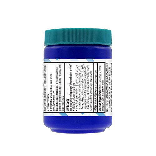 Amazon Brand - Solimo Chest Rub Cough Suppressant and Topical Analgesic, 3.53 Ounce