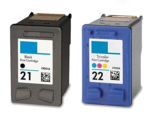 HouseOfToners Remanufactured Ink Cartridge Replacement for HP 21 & 22 (1 Black & 1 Color, 2-Pack)
