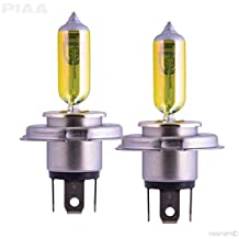 PIAA 22-13404 Solar Yellow H4 (9003) Light Bulb (2500K - 12V 60/55W), 2 Pack